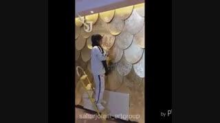 دیوارکوب برجسته مدرن پترن پولک بافت دار با ورق طلا