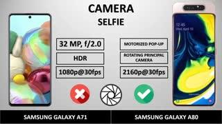 مقایسه گوشی گلکسی A71 در مقابل گوشی گلکسی a80