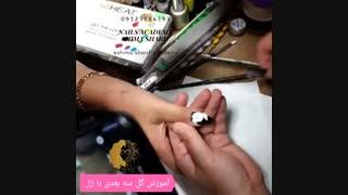 آموزش دیزاین ناخن  به طرح گل سه بعدی با ژل _ آکادمی شیما شریف